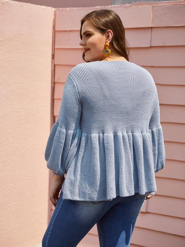 Plus Size Ribbed Knit Lantern Sleeve Peplum Sweater Top