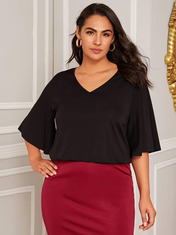 Plus Size Solid Flounce Sleeve Top