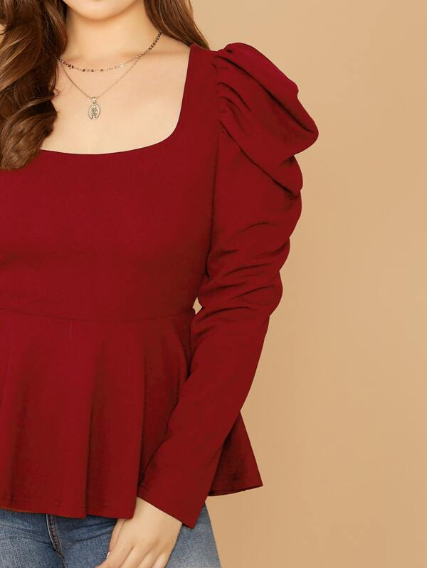 Plus Size Gigot Sleeve Peplum Top
