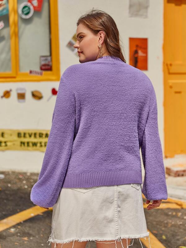 Plus Size Solid Lantern Sleeve Fuzzy Sweater Top