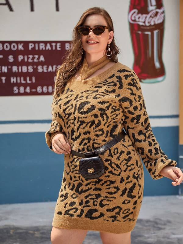 Leopard Choker Neck Fuzzy Sweater Dress Without Bag