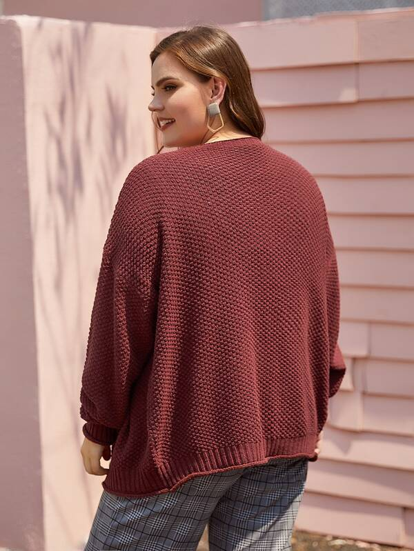 Plus Size Open Front Drop Shoulder Cardigan Top