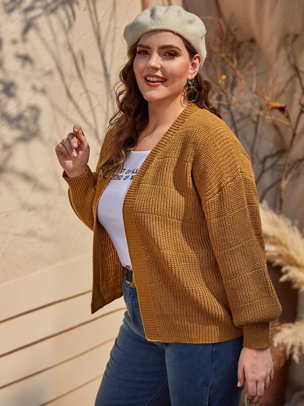 Plus Size Ribbed Knit Bishop Sleeve Cardigan Top