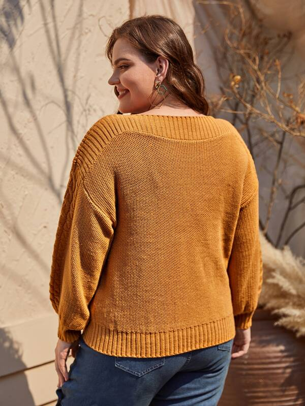 Plus Size Cable Knit Drop Shoulder Sweater Top