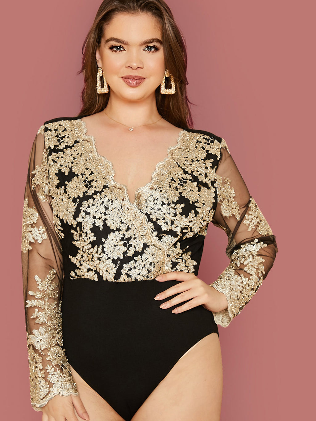 Plus Size Elegant Embroidery Mesh Bodysuit Top
