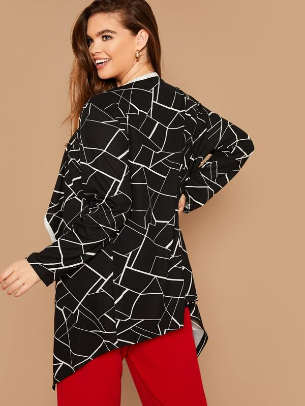 Plus Size Waterfall Collar Contrast Trim Geo Print Coat Top