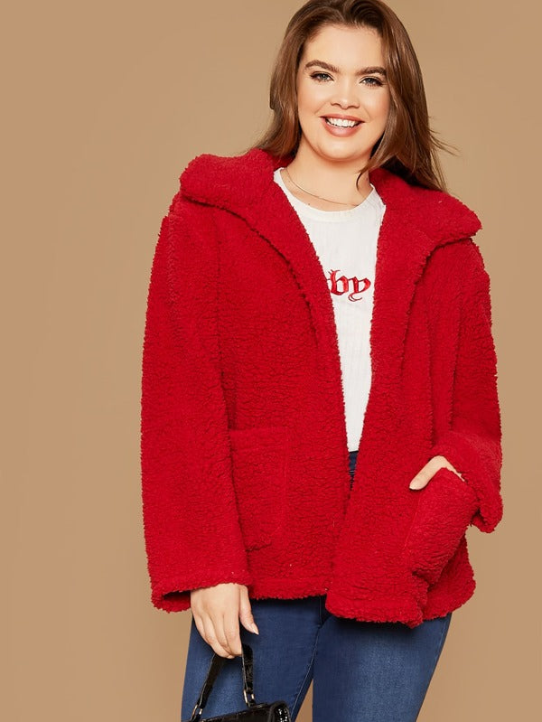 Plus Open Front Patch Pocket Teddy Coat Top