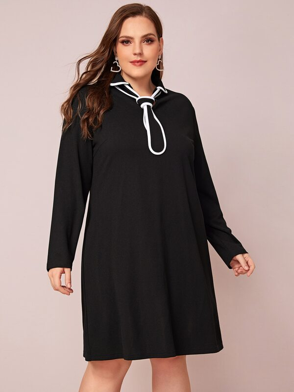 Plus Contrast Binding Tie Neck Dress