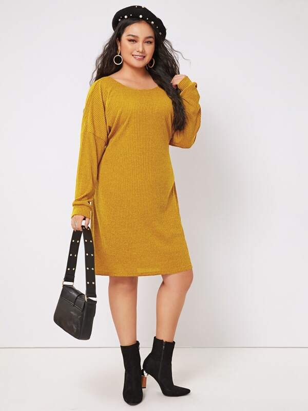Plus Twist Back Batwing Sleeve Rib-Knit Dress