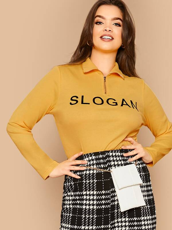 Plus Slogan Zip Half Placket Top
