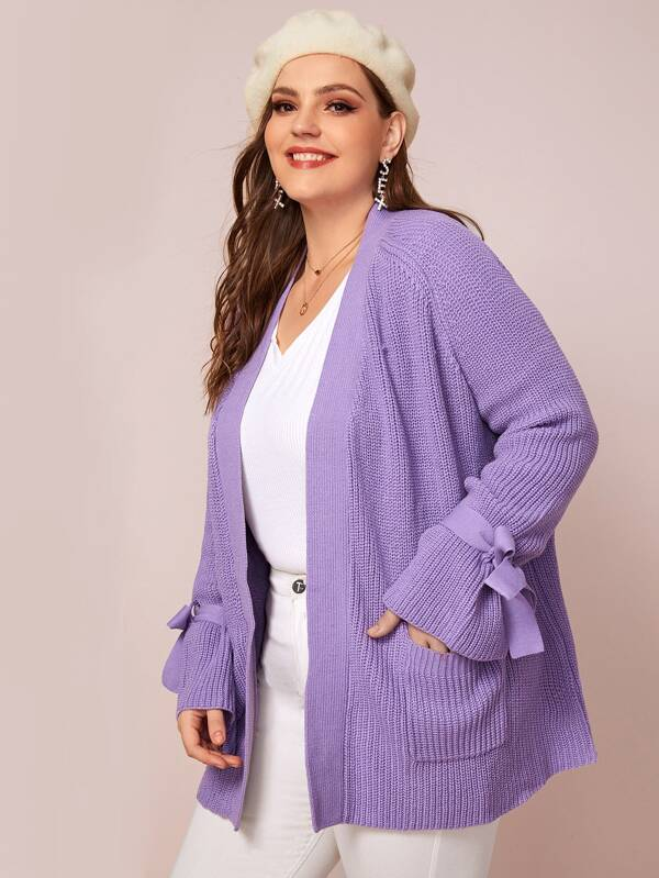 Plus Size Open Front Patch Pocket Knot Sleeve Cardigan Top