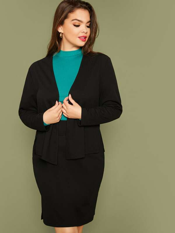 Plus Size Split Side Blazer And Wide Band Waist Skirt Set