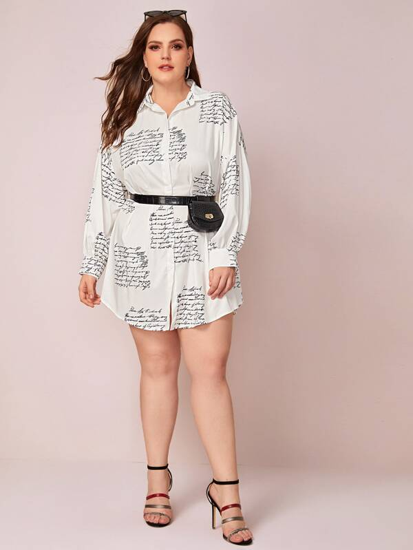 Plus Size Letter Graphic Curved Hem Shirt Dress