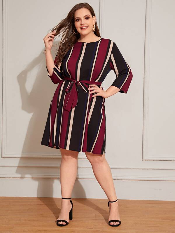 Plus Size Block Striped Self Tie Dress