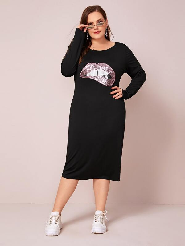 Plus Size Lip Pattern Contrast Sequin Tee Dress