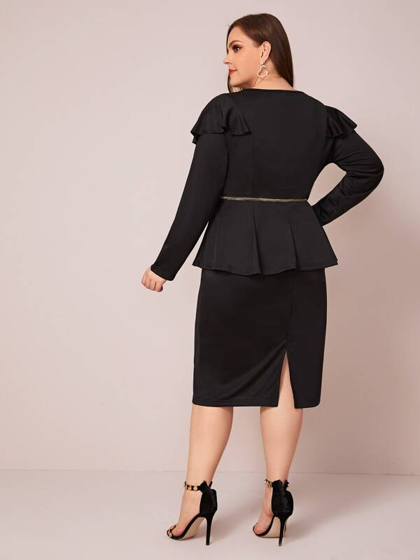 Plus Size Contrast Sequin Ruffle Trim Peplum Dress