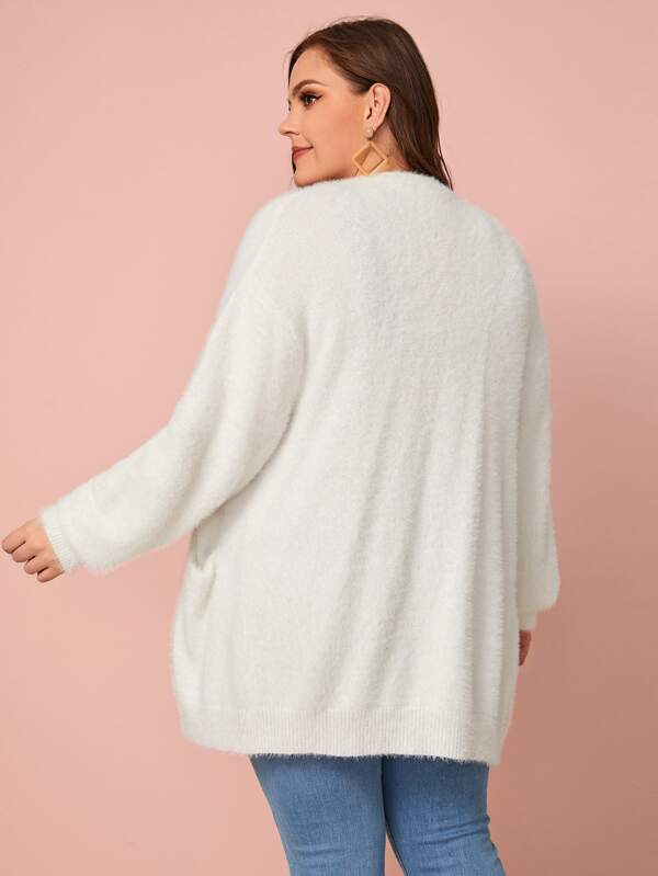 Plus Size Fluffy Knit Dual Pocket Cardigan Top