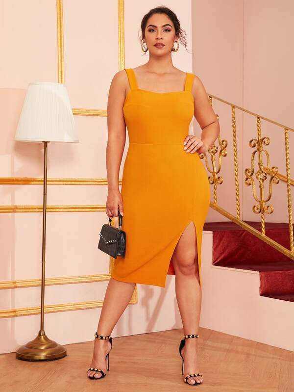 Plus Size Solid Split Thigh Bodycon Cami Dress