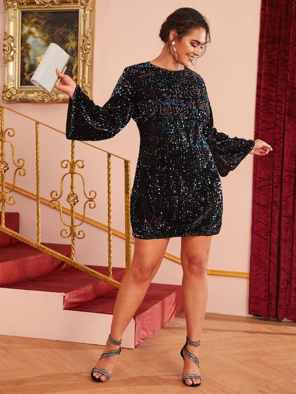 Plus Size Fitted Sequin Dress
