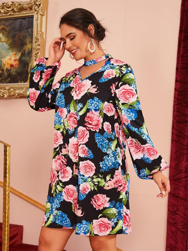 Plus Size Choker Neck Cut Out Lantern Sleeve Floral Print Dress