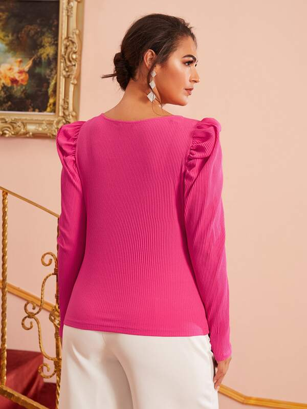 Plus Size Notched Neck Puff Sleeve Top