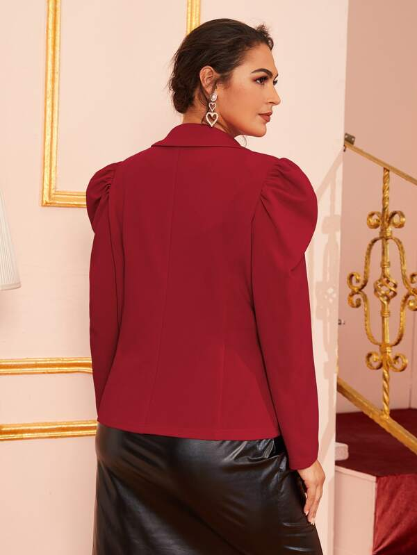 Plus Size Size Hook And Eye Gigot Sleeve Blazer Top