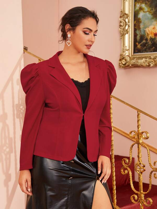 Plus Size Hook And Eye Gigot Sleeve Blazer Top