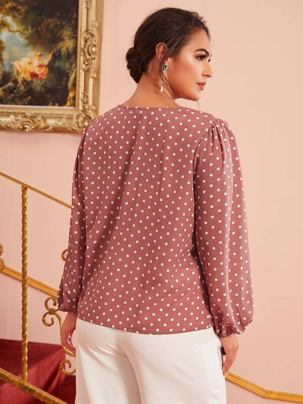 Plus Size Size Pleated Front Lantern Sleeve Polka Dot Top