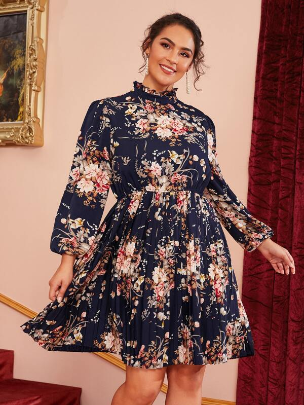 Plus Size Frilled Neck Floral Print Pleated Hem Dress