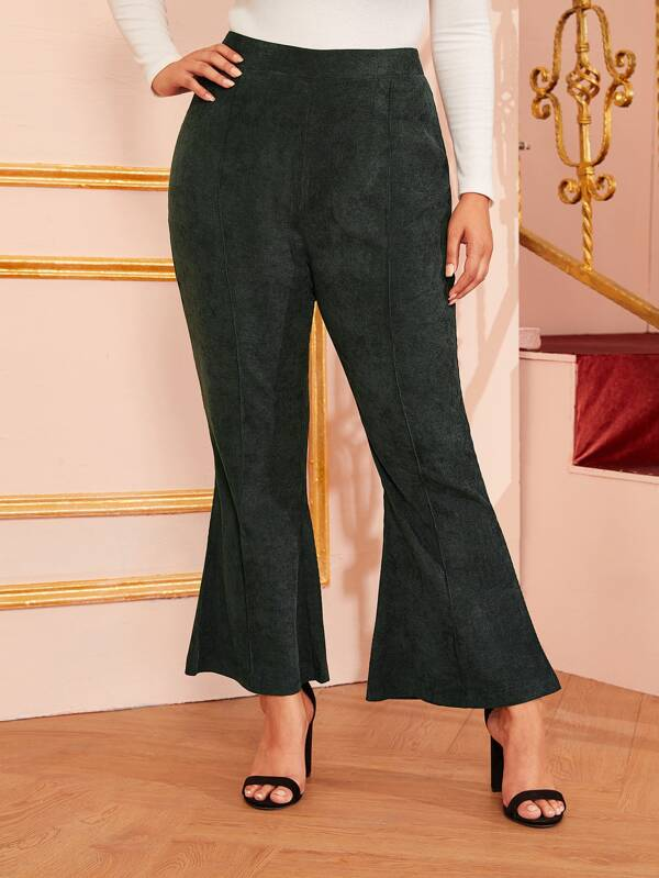 Plus Size Zip Flare Leg Corduroy Pants
