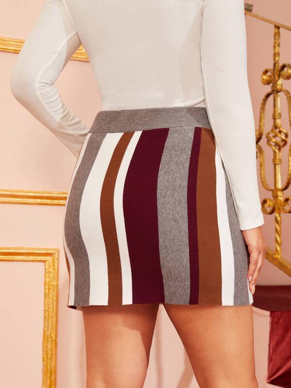 Plus Size Elastic Waist Striped Fit Skirt