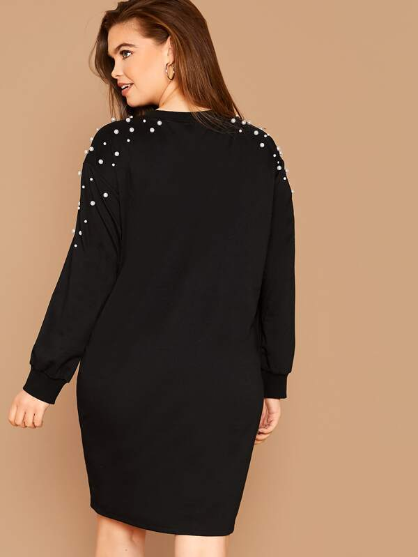 Plus Size Pearl Beaded Sweatshirt Dress