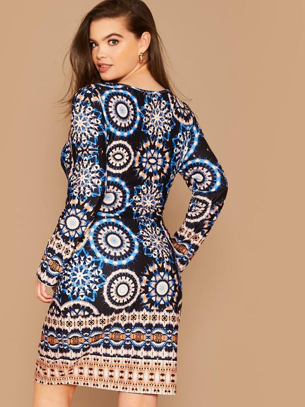 Plus Size Tribal Print Fitted Dress