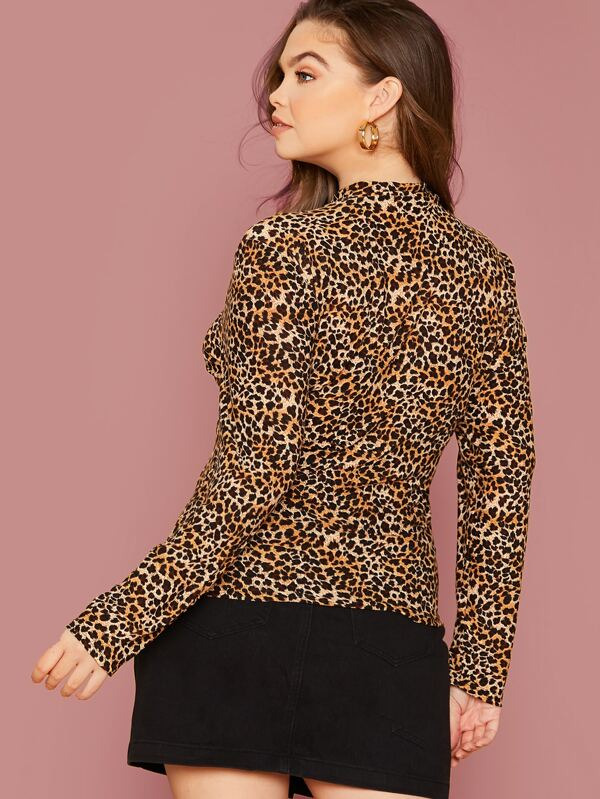 Plus Size Mock-Neck Leopard Top