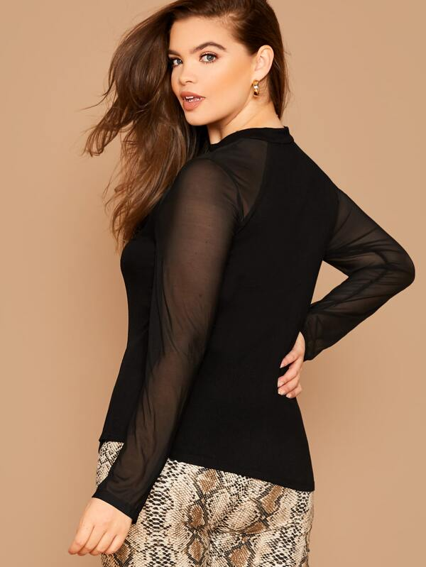 Plus Size Sheer Yoke Fitted Top