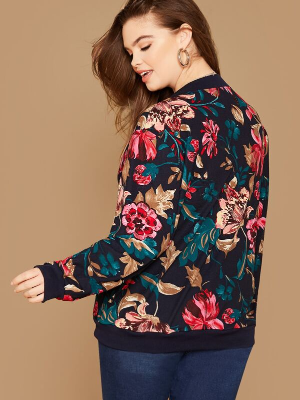 Plus Size Floral Print Zipper Up Bomber Jacket Top