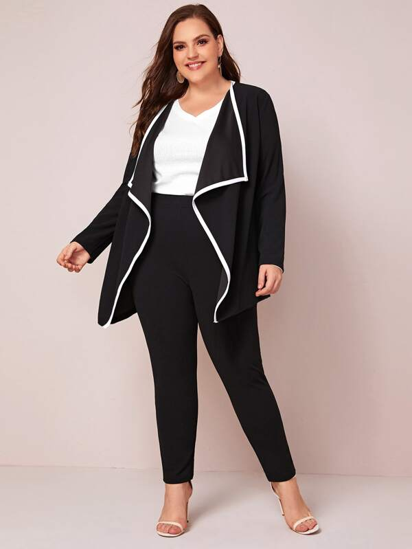 Plus Size Contrast Binding Waterfall Coat Top & Pants Set
