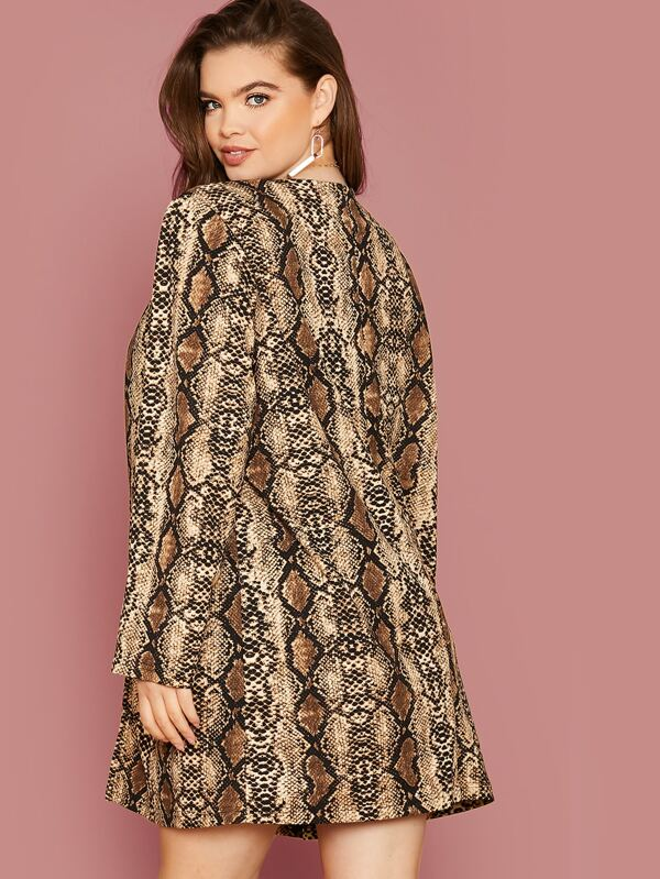 Plus Size Open Front Snakeskin Print Coat Top Without Belt