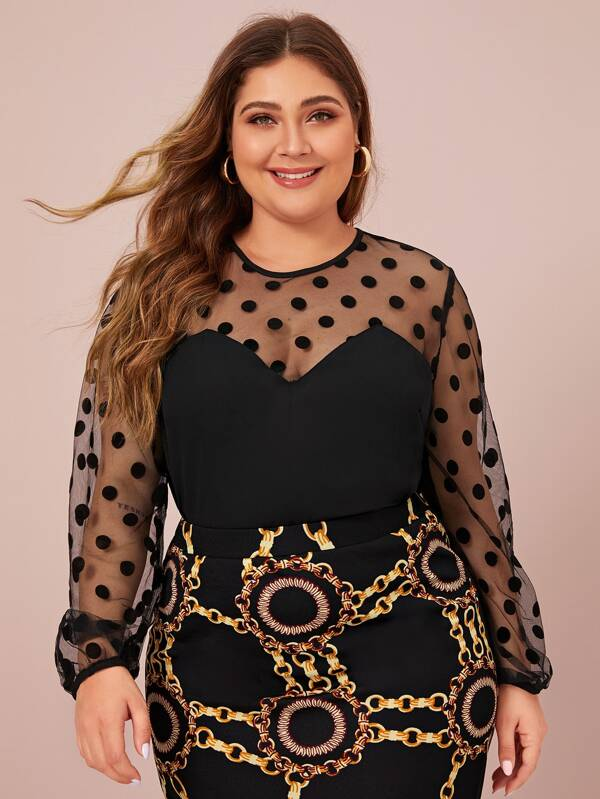 Plus Size Dot Mesh Sweetheart Lantern Sleeve Top