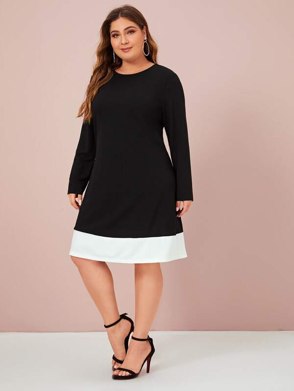 Plus Size Contrast Trim A-Line Dress
