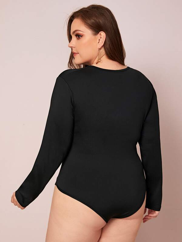 Plus Size Grommet Lace Up Front Bodysuit