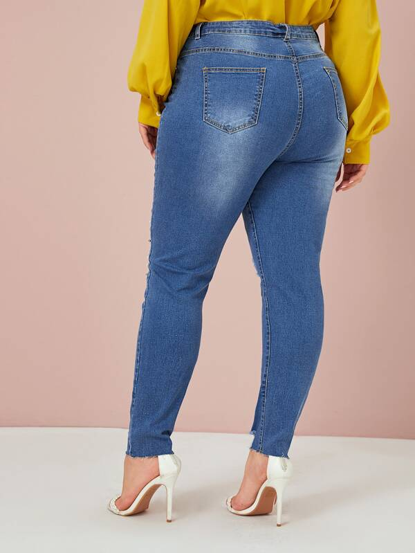Plus Size Ripped Beaded Raw Hem Skinny Jeans