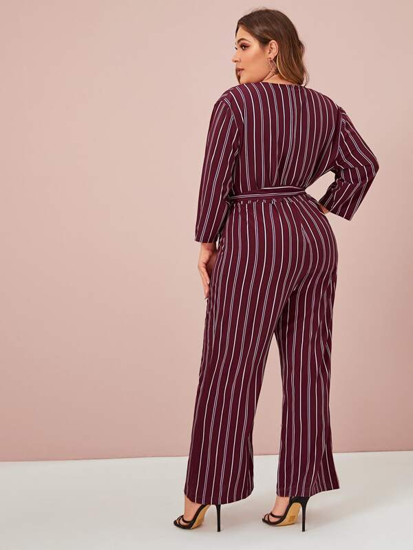 Plus Size Vertical Striped Belted Wide Leg Chiffon Jumpsuit