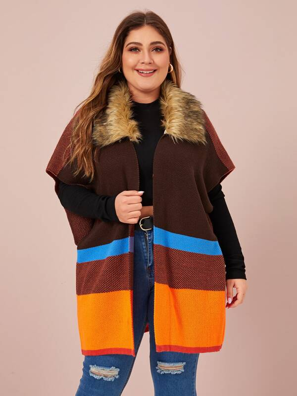 Plus Size Cut And Sew Cardigan With Borg Collar