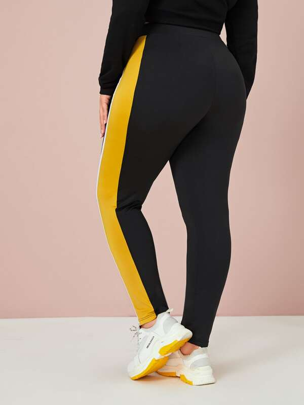 Plus Size Colorblock O-Ring Zip Skinny Pants