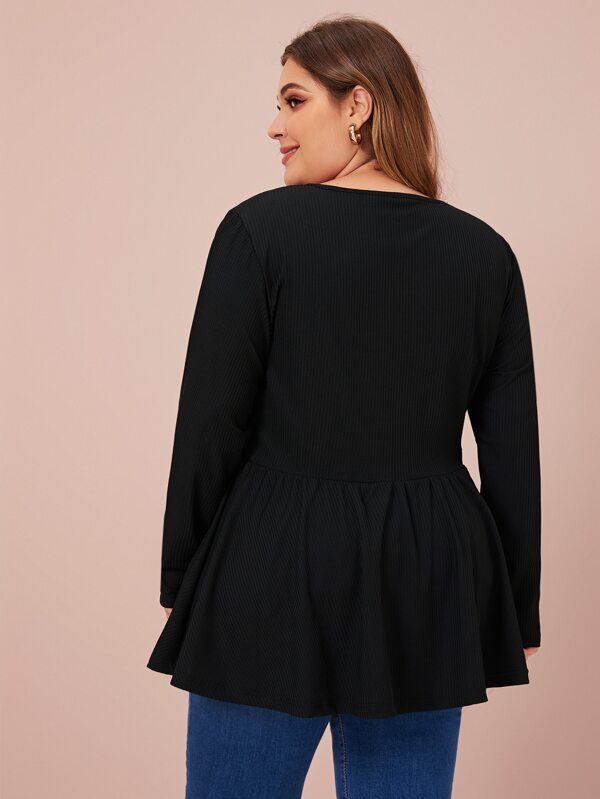 Plus Size Solid V Neck Peplum Tee