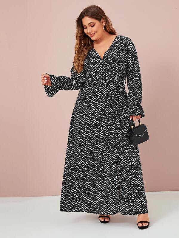 Plus Size Daisy Flower Split Thigh Belted Maxi Dress