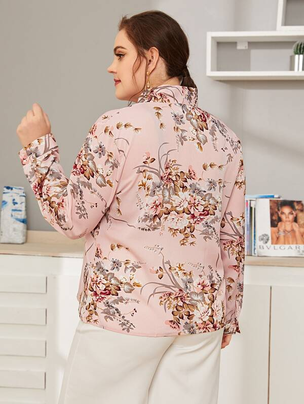 Plus Size Tie Neck Floral Print Top