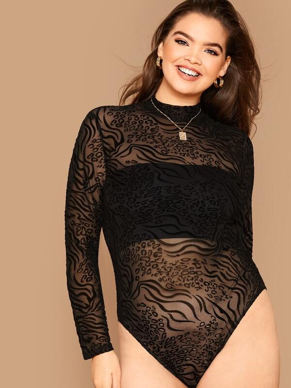 Plus Size Leopard Sheer Mesh Bodysuit Top Without Bandeau