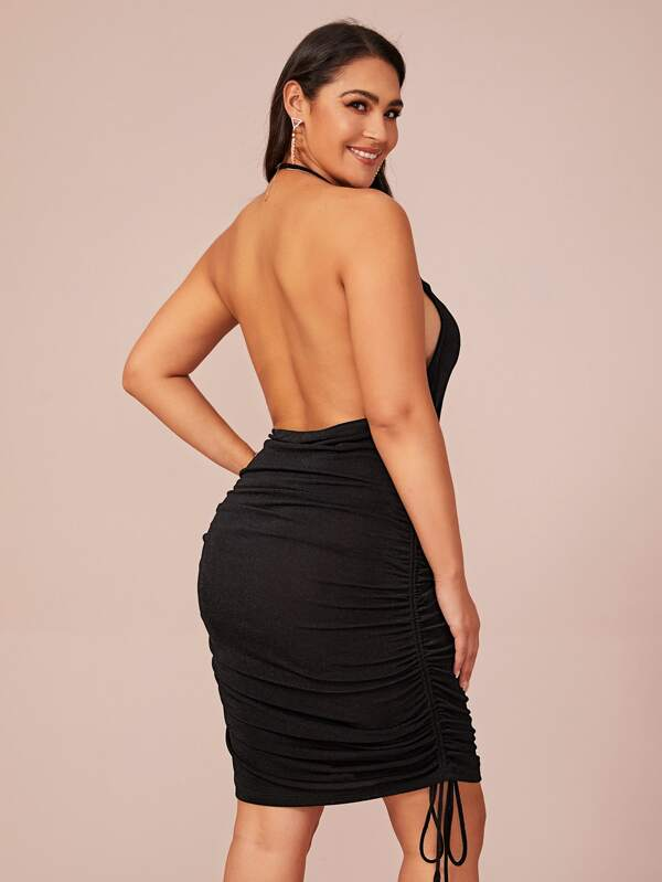 Plus Size Open Back Drawstring Side Halter Dress